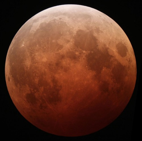view of the moon from lunar eclipse